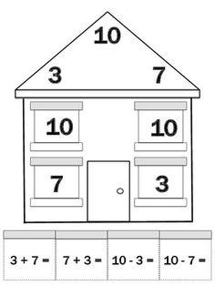 math worksheet : freebie math houses posters  worksheets  kindergartenklub   : Math Facts To 10 Worksheet