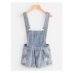 Distress Cuffed Denim Dungaree Shorts (€12) ❤ liked on Polyvore featuring shorts, dungaree shorts, cuffed denim shorts, distressed shorts, ripped shorts and destroyed shorts
