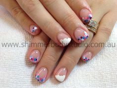 Gel nails, hand painted nail art, spot dot spotty dotty nails, clouds by Shimmer Body Studio.
