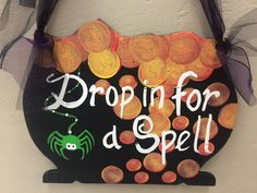 """Drop in for a spell"" sign made by adults with special needs."