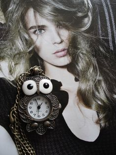 10% OFF Necklace Pendant Owl Pocket Watch quartz Chain by Azuraccessories, $5.93