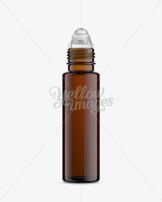 10ml Amber Glass Roller Bottle w/o Cap Mockup