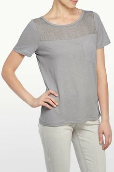 NYDJ - The Original Slimming Fit, VEILED KNIT POCKET TEE, dahlia, Tops > Knits & Tees, S0S0116