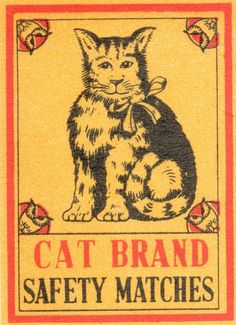 Cats in Art and Ilustration: Vintage matchbox