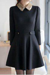 $14.12 Nail Bead Beam Waist Ruffles Polyester Color Matching Dress For Women