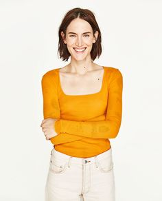 Image 1 of SQUARE NECKLINE T-SHIRT from Zara