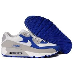 New Arrivals Nike Air Max 90 Shoes White/Grey/Blue MX-404 via Polyvore