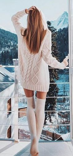 fb575dc24  winter  outfits white knit jacket with knee-high socks Stylish Outfits