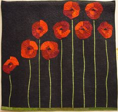 Poppies in Bloom by Sally Riedl. Tree Quilt, Quilt Art, Fabric Postcards, Quilt Modernen, Flower Quilts, Textile Fiber Art, Landscape Quilts, Ideas Geniales, Quilted Wall Hangings