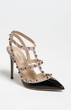 Free shipping and returns on Valentino 'Rockstud' T-Strap Pump at Nordstrom.com. Pyramid studs boldly decorate a pointed-toe pump shaped from high-gloss patent leather.