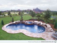 In Ground Pool Design Freeform Pool . This small In Ground Pool Design This small free form pool of Freeform Pools Photo Gallery, Custom P. Backyard Pool Landscaping, Backyard Pool Designs, Swimming Pools Backyard, Swimming Pool Designs, Landscaping Ideas, Backyard Ideas, Lap Pools, Patio Ideas, Pool Spa