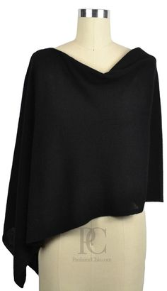 Cashmere Poncho - Wear it 4 ways. Comes in 60 colors. Classic black is fabulous. The perfect Mother's Day Gift. Comes gift wrapped and ships Free! PaulaandChlo.com