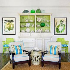 Love the pop of color on the back wall of the cabinet!