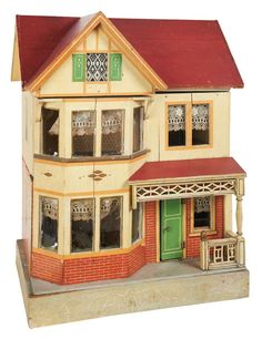 German Red Roof Dollhouse by Moritz Gottschalk with Painted Shutters
