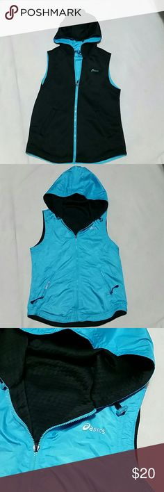 ASICS Reversible womens hooded vest Black on one side and turquoise on the other. In really good condition. Athletic, performance vest with hood. Asics Jackets & Coats Vests
