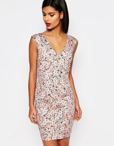 French Connection Fitted Dress in Bacongo Daisy Print