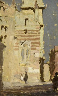 "bernard dunstan - Verona, The Duomo               oil on board 10""x 6"""