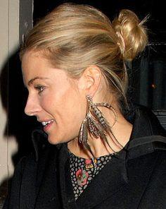 Sienna Miller in Feather Earrings.