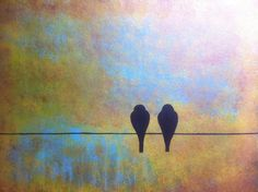 Valentine's Day Painting-Birds on wire- 18 x 24 acrylic on canvas panel, ready to hang, by Michael H. Prosper by Michael Prosper, $150.00