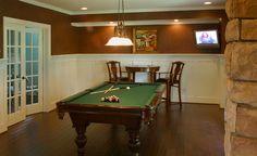 Pool table room with wainscotting, hardwood floors