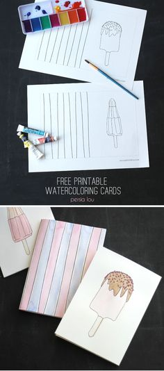 Free Printable Watercoloring Popsicle Cards - Color or watercolor these free printable popsicle cards! Diy Art Projects, Paper Crafts, Diy Crafts, Create And Craft, Craft Corner, Hand Lettering, Free Printables, Coloring Pages, Craft Supplies