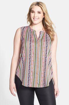 Jessica Simpson 'Carmela' Stripe Sleeveless Blouse (Plus Size) available at #Nordstrom