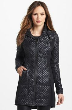 BCBGeneration Knit Inset Quilted Coat available at #Nordstrom