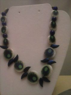 Purple and Blue Necklace Unusual Peacock Feathers by FateSteppedIn, $18.00