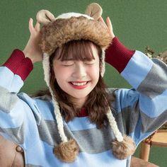 8b4827c8 Cartoon bear knit hat with ear flaps for teenage girls winter pom pom hats