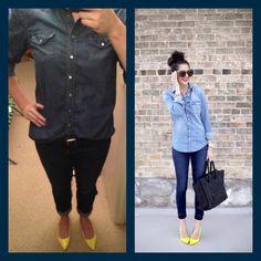 Denim Shirt-Goodwill Skinny Jeans-Gap Outlet Shoes-Target