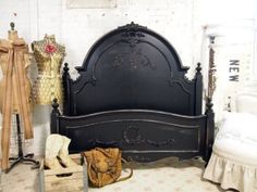Black Queen Romance Bed -- LOVE IT! From http://thepaintedcottagestudio.com