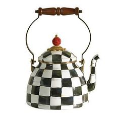 MACKENZIE-CHILDS Courtly Check Enamel Tea Kettle 3 QT $110 Pick Up Order and get 20% Off Or we will ship FREE Enter Promo Code SPRPRV15 At Checkout and receive 30% Off your order
