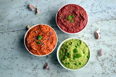 Bowls Hummus Trio - Red Pepper, Mint Pea and Beetroot Cumin