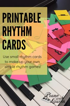 The possibilities for simple rhythm games are endless with the upgraded printable rhythm cards.This upgraded version includes time signatures, bar lines, double bar lines, numbers, and math symbols. Keep rhythm games SIMPLE! Music Games For Kids, Music Activities, Violin Lessons, Music Lessons, Sheet Music With Letters, Music Theory Worksheets, Line Game, Teacher Lesson Plans, Rhythm Games