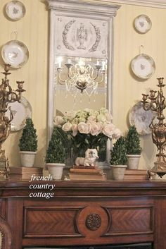 FRENCH COUNTRY COTTAGE: A Fresh Bedroom Mantel - love the plate hangers on middle plates, the mirror (paint job especially) the creamy yellow wall color and wood tones of mantle French Country Bedrooms, French Country Cottage, French Country Style, French Country Decorating, Cottage Style, Cottage Decorating, Country Décor, French Country Dining, Country Charm
