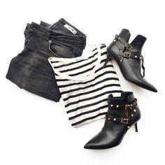 Basics. Anine Bing Jeans and a stripe tee. Flat Lay via OVRSLO.