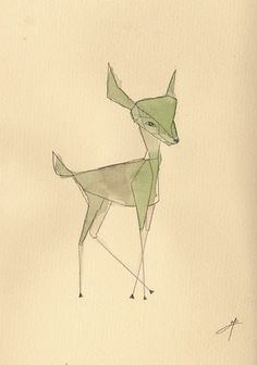 simple line and watercolor Bambi Art And Illustration, Hirsch Illustration, Illustrations, Simple Art, Simple Style, Simple Lines, You Draw, Grafik Design, Painting & Drawing