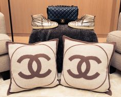 CHANEL pillows, anyone? http://www.thecoveteur.com/rochelle-gores-fredston/