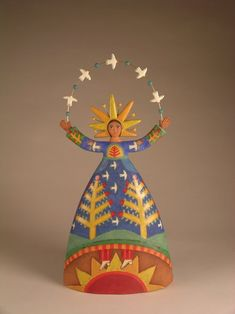 Lisa Smith is an ceramic artist in Santa Fe New Mexico. Lisa Smith makes one of a kind high fired ceramic sculptures. Indian Folk Art, Mexican Folk Art, Lisa Smith, Ceramic Angels, Guys And Dolls, Religious Icons, Arte Popular, Gourd Art, Angel Art