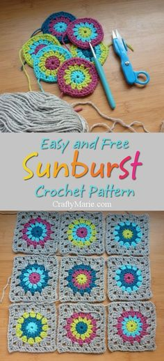 FREE sunburst granny square crochet pattern. Very easy instructions step by step tutorial with photos to follow from CraftyMarie.com. Beautiful and popular sun flower shape design which looks amazing.