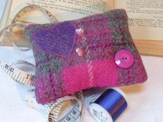 Harris Tweed Pincushion by TheFabulousMrG on Etsy, $16.00