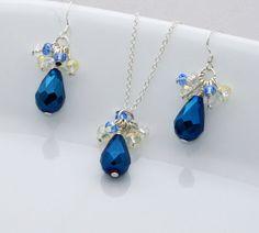 Dark Blue Necklace Set Wedding Jewelry Bridesmaid by JDSWeddings, $25.00
