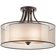 "370 -possible bedroom flush mount; Kichler Lacey 20"" Wide Bronze Ceiling Light Fixture 