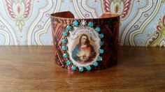 Vintage Sacred Heart Etched Copper Cuff by EclecticRedesigns Copper Cuff, Sacred Heart, Cuff Bracelets, Upcycle, Jewelry Design, Vintage, Upcycling, Repurpose, Recycling