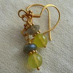 Shooting Stars  Korean Jade Labradorite Gold by pinksnakejewelry, $32.00