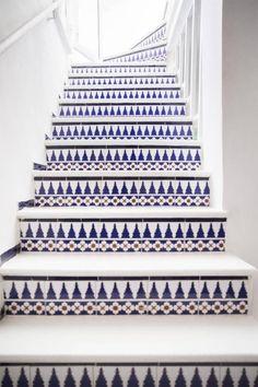 Indigo tiled stairs