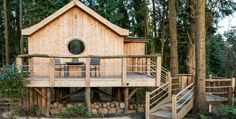This tiny home looks like a little birdhouse...I love the tree house feel you get with it's being raised on stilts.