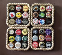 This is a set of 4 beer bottle cap coasters made with recycled caps, cork, rope trim, and foam on the bottom so as not to scratch furniture. They are the typical 4 x but are thick. Diy Bottle Cap Crafts, Beer Cap Crafts, Bottle Cap Projects, Plastic Bottle Crafts, Bottle Cap Coasters, Bottle Cap Table, Bottle Cap Art, Diy Coasters, Coaster Crafts