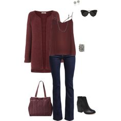 Marsala-color of the year by cs1398 on Polyvore featuring Oasis, River Island, 7 For All Mankind, Dolce Vita, LeSportsac, Kate Spade, Alivia May, Linda Farrow, coloroftheyear and marsala