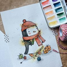 Likes, 12 Kommentare - ✏ ¸ . Christmas Drawing, Christmas Paintings, Christmas Art, Watercolor Cards, Watercolor Paintings, Pinguin Illustration, Tumblr Bff, Illustrators On Instagram, Christmas Illustration